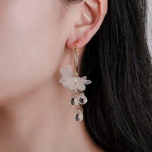 Jewelry - 1 LEFT!  Gold Hoops/Translucent Flowers Earrings